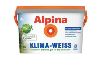 Abbildung eines Farbeimers mit Alpina Klime-Weiss